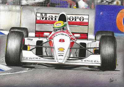 Formula One Drawing - Ayrton Senna Mclaren 1993 Adelaide by Alex Werner