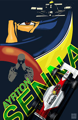 Painting - Ayrton Senna Race Illustration by Sassan Filsoof