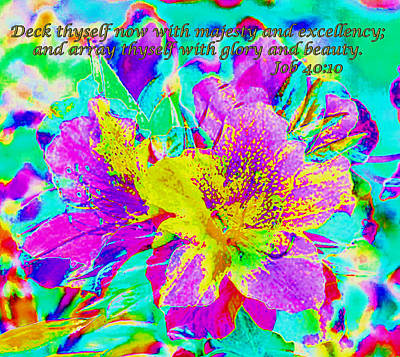 Digital Art - Azalea With Text by Stephanie Grant