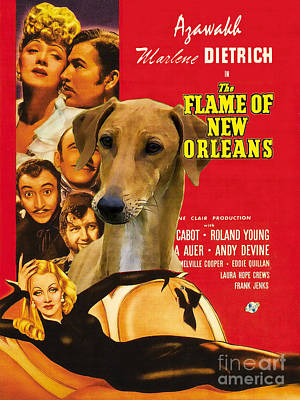 Painting - Azawakh Art - The Flame Of New Orleans Movie Poster by Sandra Sij