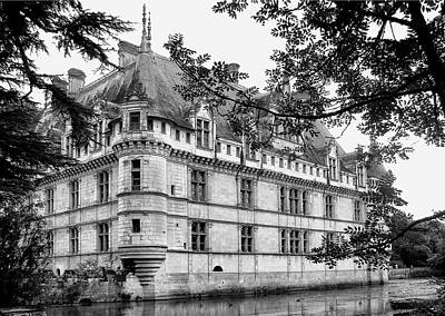 Castle Photograph - Azay-le-rideau In Black And White by Nikolyn McDonald