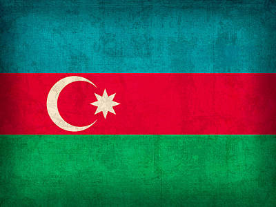 Azerbaijan Flag Vintage Distressed Finish Art Print by Design Turnpike