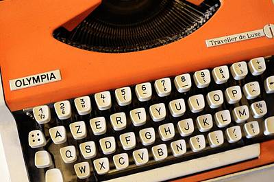 Typewriter Keys Photograph - Azerty Keyboard Typewriter by Chris Hellier