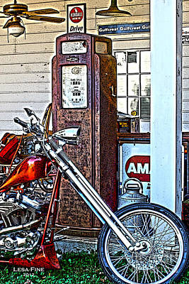 Art Print featuring the photograph Aztec And The Gas Pump by Lesa Fine