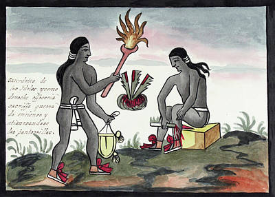 Human Sacrifice Photograph - Aztec Blood Sacrifices by Library Of Congress