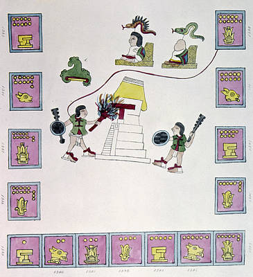 Pictograph Painting - Aztec Burning A Temple by Granger