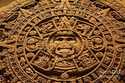 Photograph - Aztec Calendar Closeup Mexico by John  Mitchell