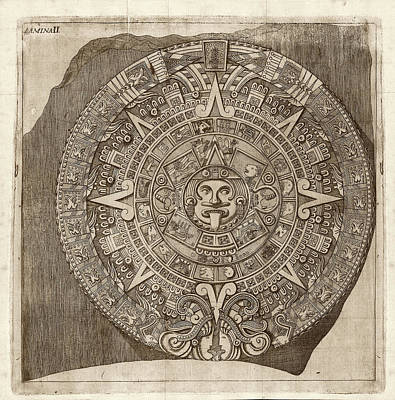 Calendar Photograph - Aztec Calendar Stone by Library Of Congress