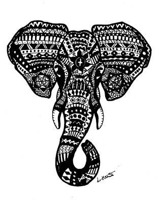 Elephant Wall Art - Drawing - Aztec Elephant Head by Loren Hill