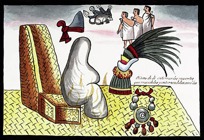 Sacrificial Photograph - Aztec Emperor Funeral by Library Of Congress