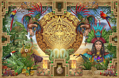 Jester Digital Art - Aztec Mayhem Montage by Ciro Marchetti