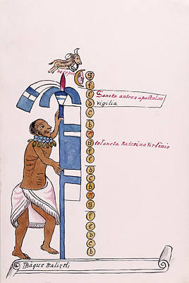 Aztec Month Panquetzaliztli Art Print by Library Of Congress