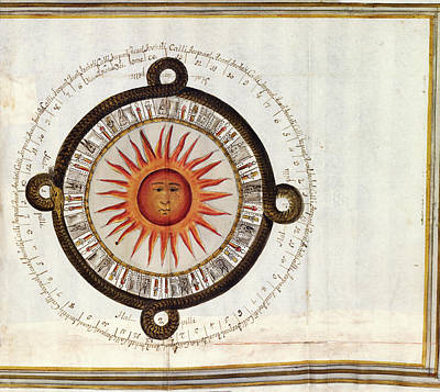 Calendars Photograph - Aztec 'reckoning Of The Sun' Cycle by Library Of Congress