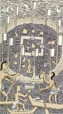 Canoe Drawing - Aztec Religious Ceremony by Granger