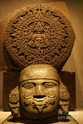 Photograph - Aztec Sculpture And Calendar   by John  Mitchell