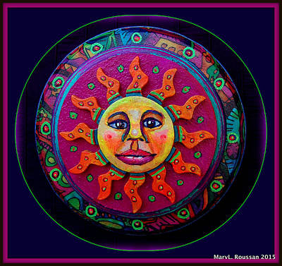 Sun Rays Mixed Media - Aztec Sun by MarvL Roussan