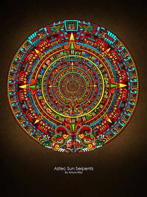 Mexican Mixed Media - Aztec Sun Serpents by Arturo Rios Mercado