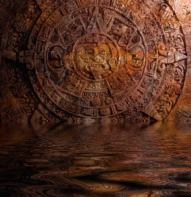 Photograph - Aztec Sun Stone 2 by WB Johnston
