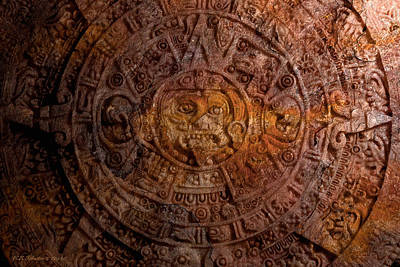 Photograph - Aztec Sun Stone by WB Johnston