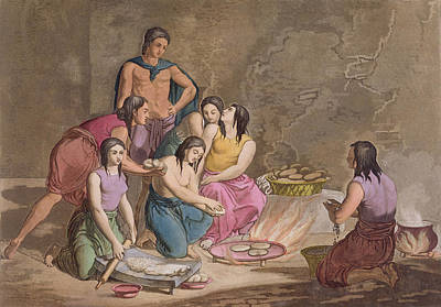 Interior Scene Drawing - Aztec Women Making Maize Bread, Mexico by Gallo Gallina