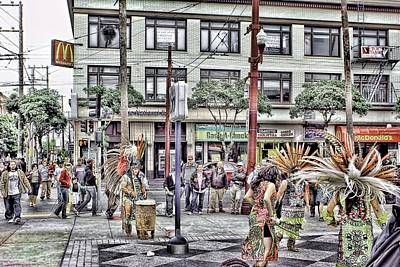 Editorial Mixed Media - Aztecs In The City by Don Bendickson