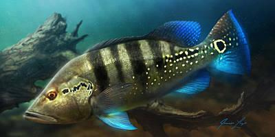 Fish Underwater Digital Art - Azul_01 by Javier Lazo