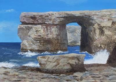 Disintegrate Painting - Azure Window Gozo Malta  by Nigel Radcliffe
