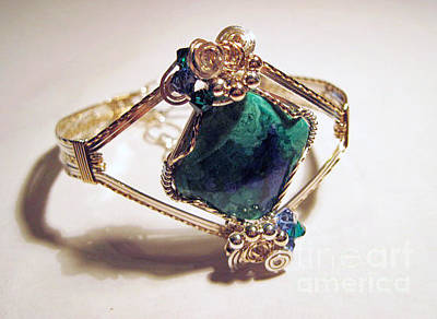 Argentium Jewelry - Azurite Malachite Natural Stone Bracelet In Sterling And Gold Filled Wire by Holly Chapman