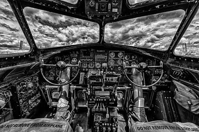 P-51 Mustang Photograph - B-17 Cockpit by Mike Burgquist