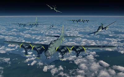 B-17 Flying Fortress Bomber Planes Art Print by Mark Stevenson
