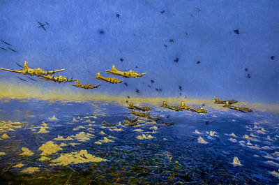 Photograph - B 17 Formation Over Schweinfurt Germany by Ken Smith