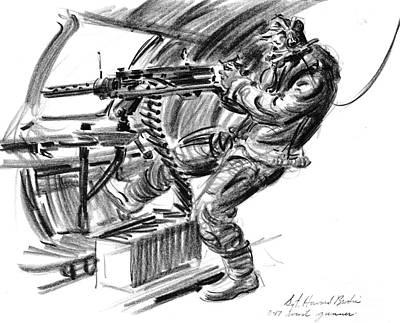 B-17 Waist Gunner 1942 Art Print by Padre Art