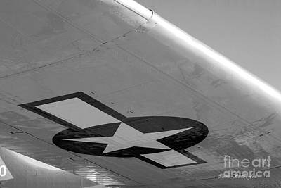 Photograph - B-17g Flying Fortress. Beneath The Wing B W by Connie Fox