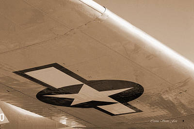 Photograph - B-17g Flying Fortress In Sepia. Beneath The Wing by Connie Fox