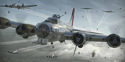 Ww2 Digital Art - B-17g Hikin' For Home by Robert Perry