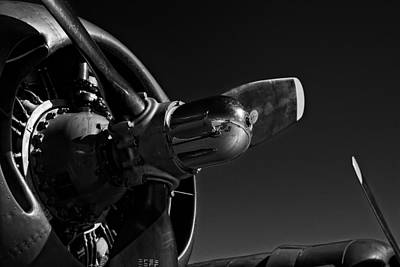 Photograph - B-24 Liberator Engine In Black And White by Jeff Sinon