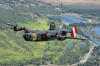 B-24 Liberator Flying Over Mt. Lassen Print by Phil Wallick