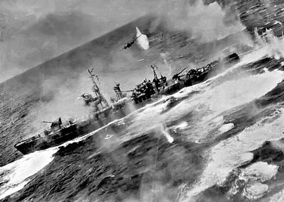 Battle Ship Photograph - B 25 Attack by Unknown