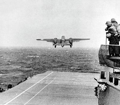 In Flight Photograph - B-25 Bomber Taking Off During Wwii by Us Air Force