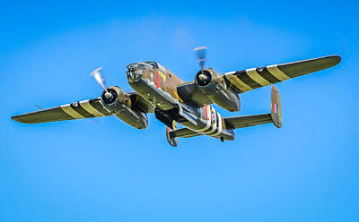 Plane Photograph - B-25 Mitchell Bomber by Puget  Exposure