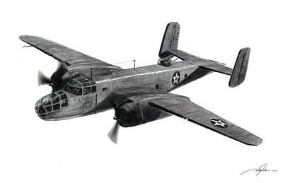 Bomber Drawing - B-25b The Ruptured Duck by Dale Jackson