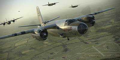 Wwii Digital Art - B-26 Feudin Wagin by Robert Perry