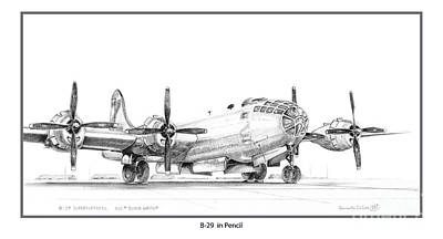 Drawing - B-29 by Kenneth De Tore