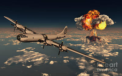 Digitally Generated Digital Art - B-29 Superfortress Flying Away by Mark Stevenson