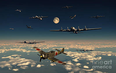B-29 Superfortress Planes Under Attack Art Print by Mark Stevenson