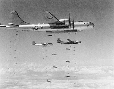 Korean War Photograph - B-29s Dropping Bombs by Underwood Archives