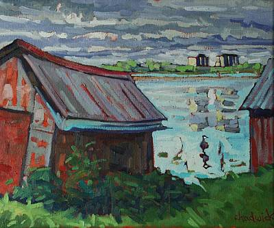 Canadian Geese Painting - B And B - Barriefield Boathouse by Phil Chadwick