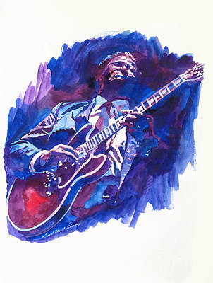 B.b.king Painting - B. B. King Blue by David Lloyd Glover