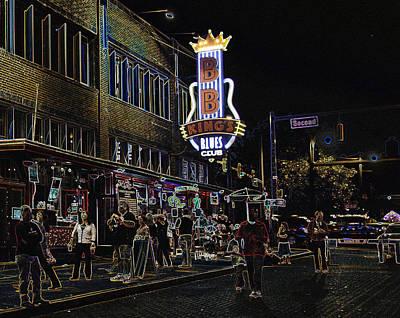 City Digital Art - B B King's Blues Club by Liz Leyden