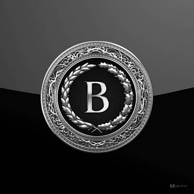 Digital Art - B - Black Silver Vintage Monogram On Modern Glossy Black  by Serge Averbukh